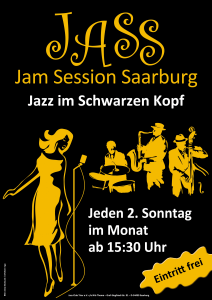 16.09.2018 um 15:30 Uhr &ndash; JASS - Jam Session Saarburg: Sessionbands JASS <a href='index.php?LL=&zeige=events&sub=sess'><img src='picts/moreinfo.jpg' alt='Mehr Info' width='20' height='12' align='absmiddle' /></a>